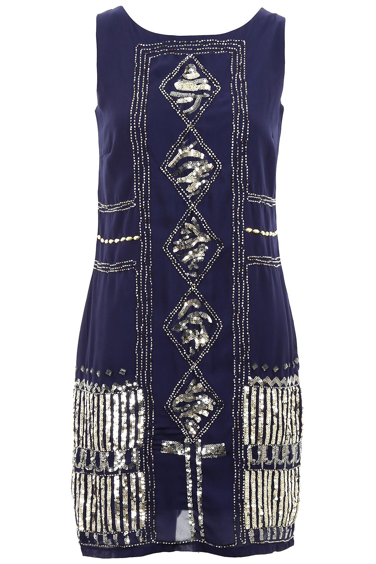 Womens Hand Beaded Golden Silver Sequin Ladies Evening Party Dress