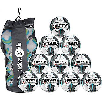 10 x DERBYSTAR Training Ball-BUNDESLIGA BRILLANT réplica 19/20 incluindo ballsack