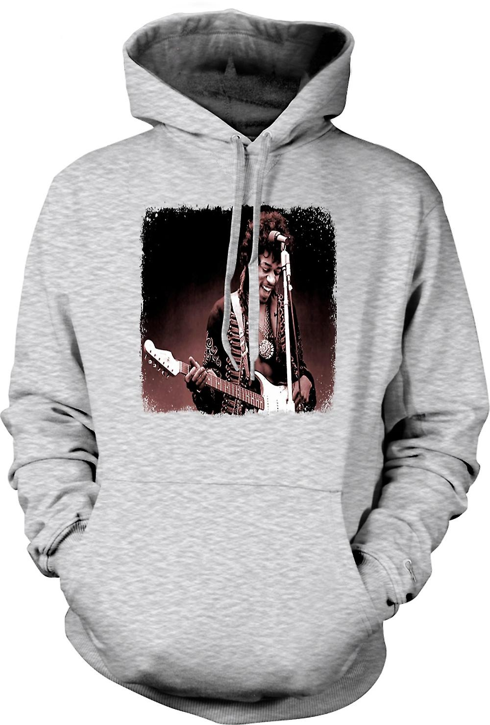 Mens-Hoodie - Jimi Hendrix - Sepia - Portrait