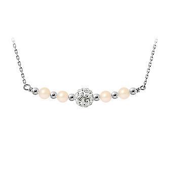 Collier Perles de culture Roses, cristal et Argent 925