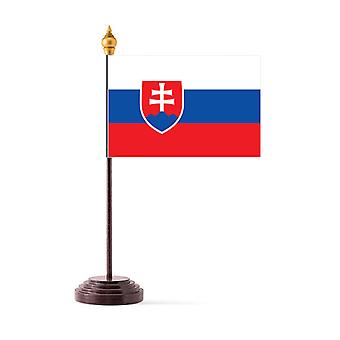 Slovakia Table Flag with Stick and Base