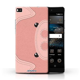 STUFF4 Phone Case / Cover for Huawei P8 / Pig Design / Animal Stitch Effect Collection