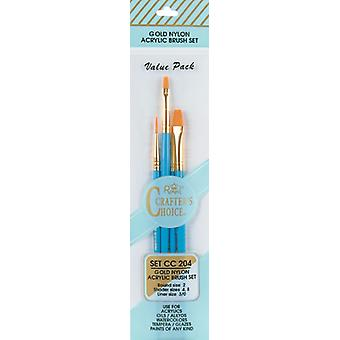 Crafter's Choice Gold Nylon Acrylic Brush Set 4 Pkg Round 2 Shader 4,8 Liner 3 Cc204