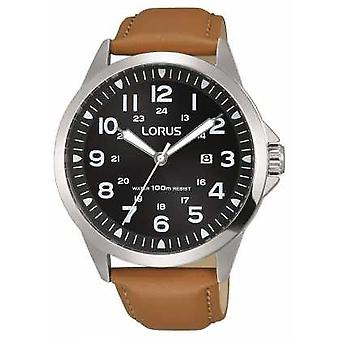 Lorus Mens Brown Leather Strap Black Dial Stainless Steel Case RH933GX9 Watch
