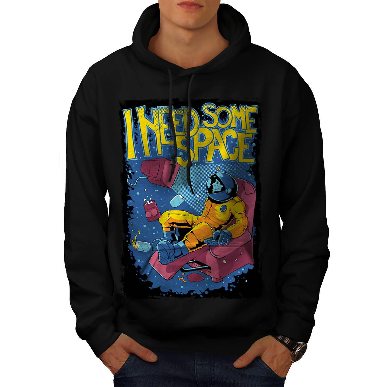 I Need Some Space Funny Men Black Hoodie | Wellcoda
