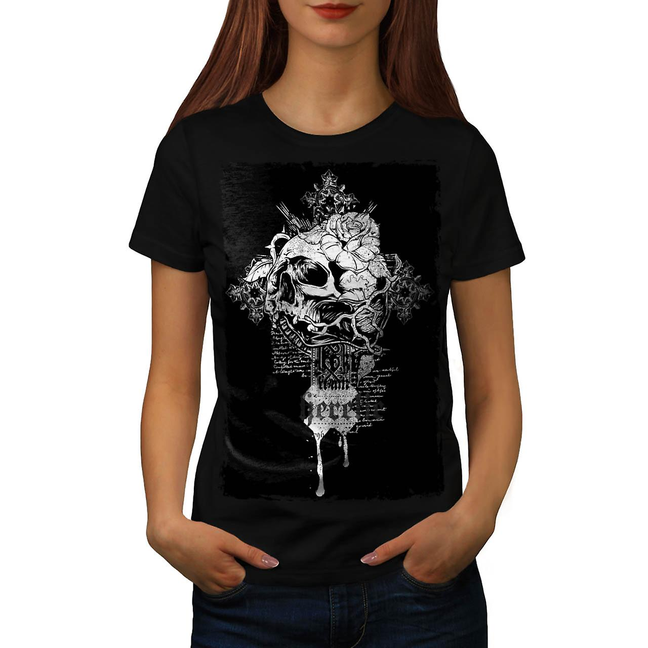 Heretic Monster Skull Grave Yard Women Black T-shirt | Wellcoda