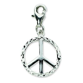 Sterling Silver Sparkle-Cut Peace Sign With Lobster Clasp Charm - 1.6 Grams - Measures 28x16mm