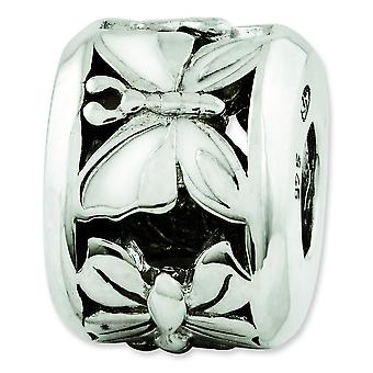Sterling Silver Reflections White Enameled Butterfly Bead Charm
