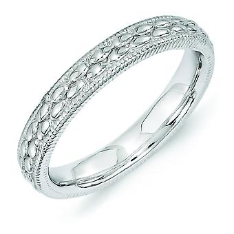 3.5mm Sterling Silver Stackable Expressions Rhodium-plated Patterned Ring - Ring Size: 5 to 10
