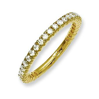 Sterling Silver Yellow Plated With CZ Ring - Ring Size: 5 to 8