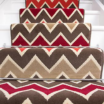80cm Width - Modern Red Zig Zag Chevron Stair Carpet