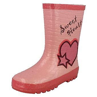 Girls Startrite Wellington Boots Glitter Heart