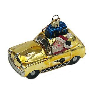 Santa kørsel New York Taxi glas ferie Christmas Ornament Kurt Adler