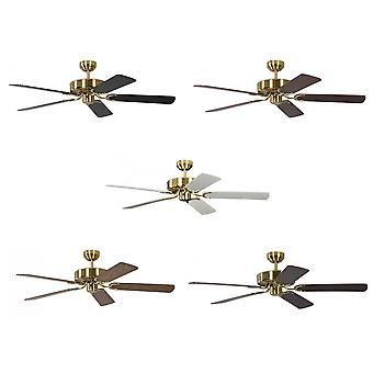 Ceiling Fan Potkuri satin brass, selectable blade colour