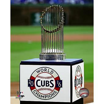 The Chicago Cubs 2016 World Series trophy is seen during a ring ceremony for the Chicago Cubs at Wrigley Field on April 12 2017 Photo Print