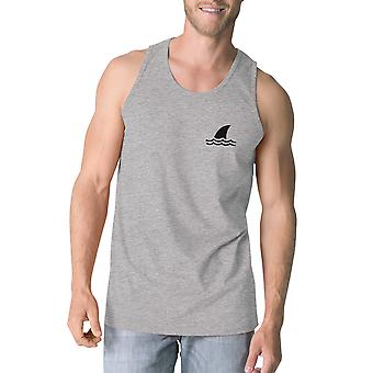 Mini Shark Men Grey Graphic Sleeveless Tank Top For Summer Vacation