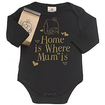 Spoilt Rotten Home Is Where Mum Is Organic Baby Grow In Gift Milk Carton