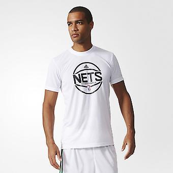 ADIDAS brooklyn nets basketball summer run shooter t-shirt [white]