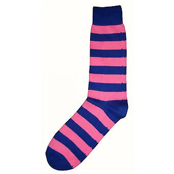 Bassin and Brown Striped Midcalf Socks - Royal Blue/Pink