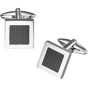 Square stainless steel combined with carbon inlay cufflinks