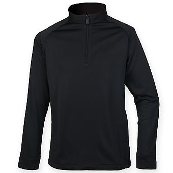 Henbury Mens Quarter Zip Long Sleeve Top