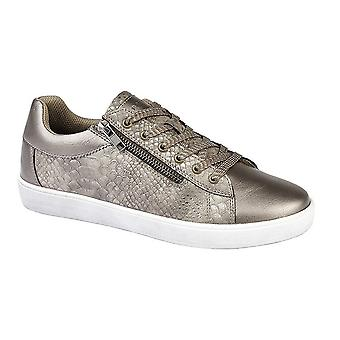 Cipriata Womens/Ladies Siena Metallic Reptile Lace & Side Zip Trainers