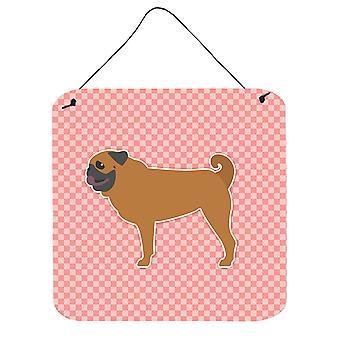 Mops schackrutiga rosa vägg eller dörr hängande utskrifter