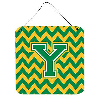 Letter Y Chevron Green and Gold Wall or Door Hanging Prints