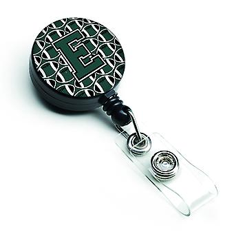 Lettera E calcio verde e bianco retrattile Badge Reel
