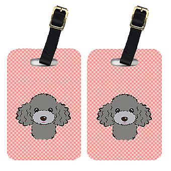 Pair of Checkerboard Pink Silver Gray Poodle Luggage Tags