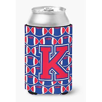 Letter K Football Harvard Crimson and Yale Blue Can or Bottle Hugger
