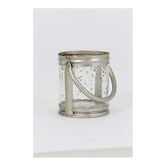 Light & Living Hurricane Ø14x12 Cm BORNES Glass Antique+handle Silver