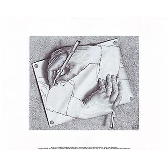 Ritning händerna affisch Skriv av MC Escher (14 x 11)
