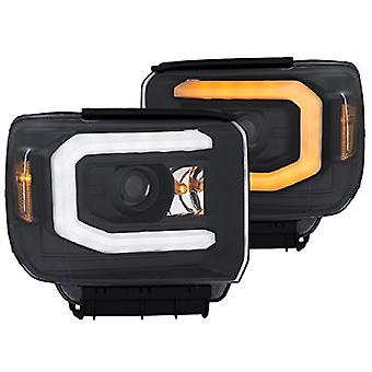 AnzoUSA 111371 Headlight (Projector W/Plank Style Switchback Black W/Drl Gmc Pair)