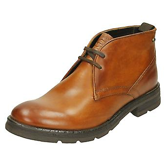 Mens Base London Ankle Boots Archer - Washed Brown Leather - UK Size 6 - EU Size 40 - US Size 7