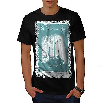 St. Thomas Ship Men BlackT-shirt | Wellcoda