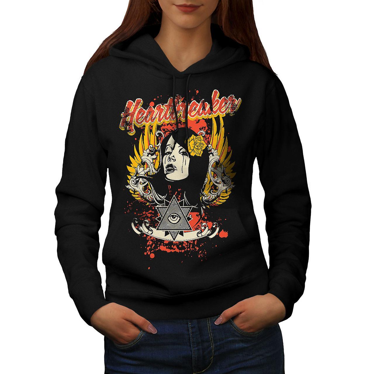 Heartbreaker Rose Fashion Women Black Hoodie | Wellcoda