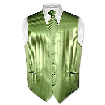 Men's Dress Vest NeckTie Vertical Stripe Design Neck Tie Set
