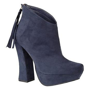 Ladies Womens High Heel Faux Suede Rear Zip Tassel Ankle Boots Shoes