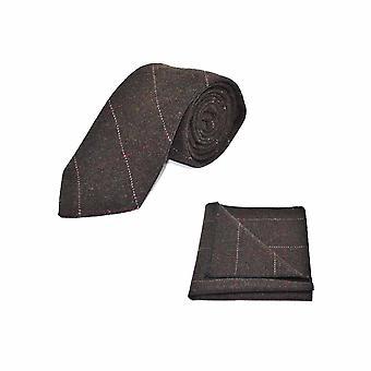 Luxury Herringbone Chocolate Brown Tie & Pocket Square Set - Tweed, Plaid Country Look