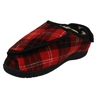 Ladies Spot On Wide Fitting Tartan Slippers CT-16008