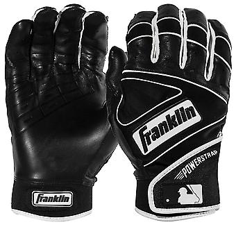 Franklin Youth Powerstrap MLB Batting Gloves - Black/Black