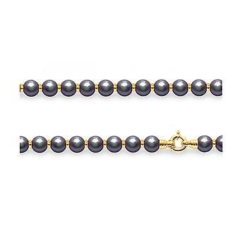 Perlen Halskette in schwarz und Perlen in gold gelb 750/1000