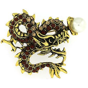 Broscher lagra antik guld Topaz Crystal Dragon med pärla brosch