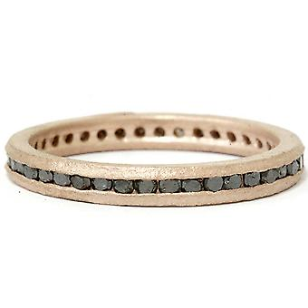 1/2ct Black Raw Diamond Channel Set Eternity Ring 14K Rose Gold