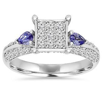 1CT Pave Diamond & Tanzanite Ring 10K White Gold