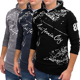 Men Longpullover Hoodie Sweatshirt Hooded trend oversize long sweater black grey Print