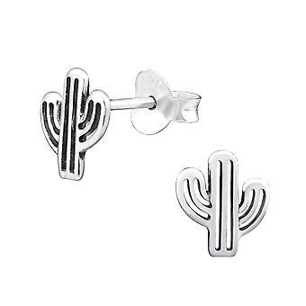 Cactus - 925 Sterling Silver Plain Ear Studs - W32193x