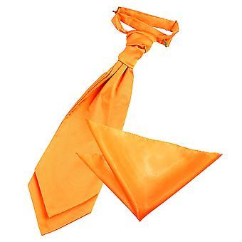Fluorescente arancio pianura sposa Cravat & Set Square Pocket