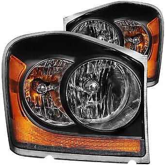 Anzo USA 111110 Dodge Durango Black With Amber Reflectors Headlight Assembly - (Sold in Pairs)